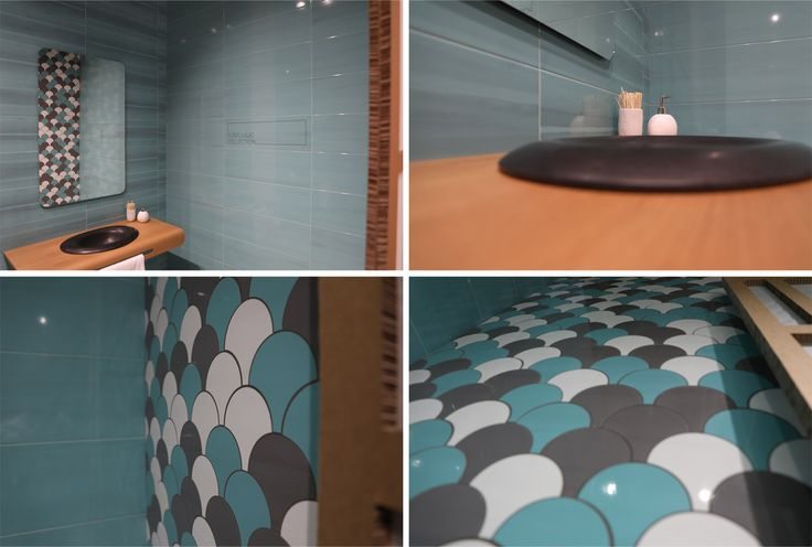 """Peronda keeps experimenting with the shades and textures of stone, wood, concrete (Foresta Devon, Dogma, Urban, Detroit, Shark, Mitte, etc.). However, the company stand is highlighted by Porlligat, a collection of bathroom tiles in the blue and turquoise gamut with smart """"fish scale"""" decors."""