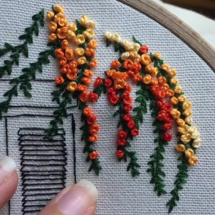 French Knot Embroidery for Flowers. Get your free architectural pattern now!