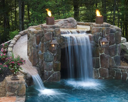 Pool Designs With Waterfalls And Slides 132 best water features images on pinterest | swimming pools
