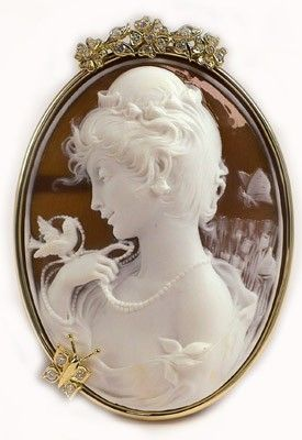 """Hand Carved Cameo, Woman With A Bird"""", By Prof. Noto Mounted In 18k Gold Frame And Set With Diamonds"""