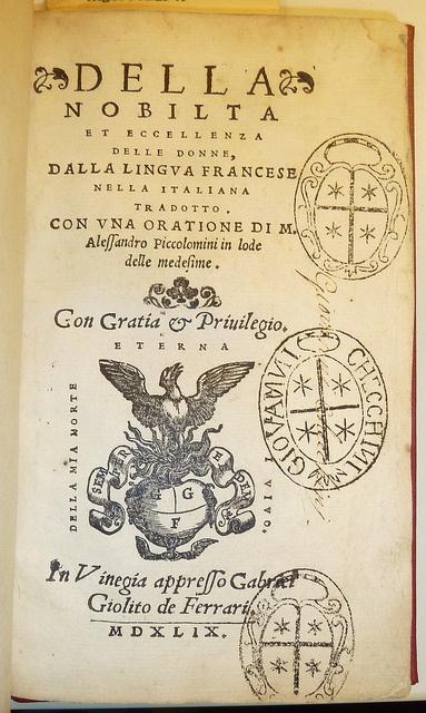Della Nobilita at Eccellenzia, with a bookplate stamp by Giovanni Checchini via Penn Provenance Project