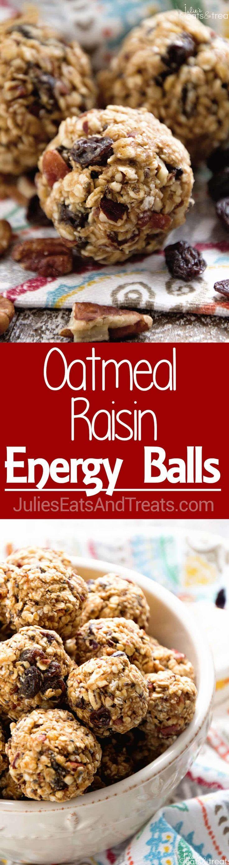 No Bake Oatmeal Raisin Energy Balls Recipe ~ Delicious Energy Balls That Taste Just like Oatmeal Raisin Cookies! Loaded with Oatmeal, Raisins, Pecans, Flaxseed, Chia Seeds and Spiced with Cinnamon! ~ https://www.julieseatsandtreats.com