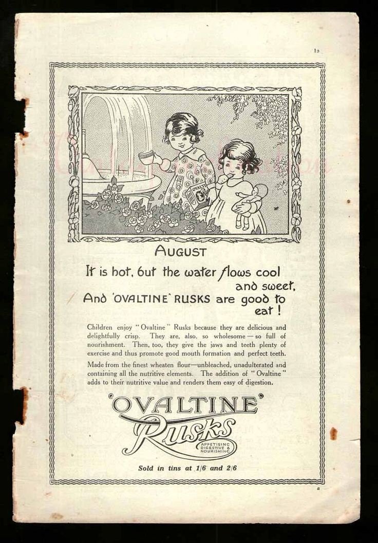 Vintage Advertisement 1927 Ovaltine Rusks by VintageInclination, via Etsy.