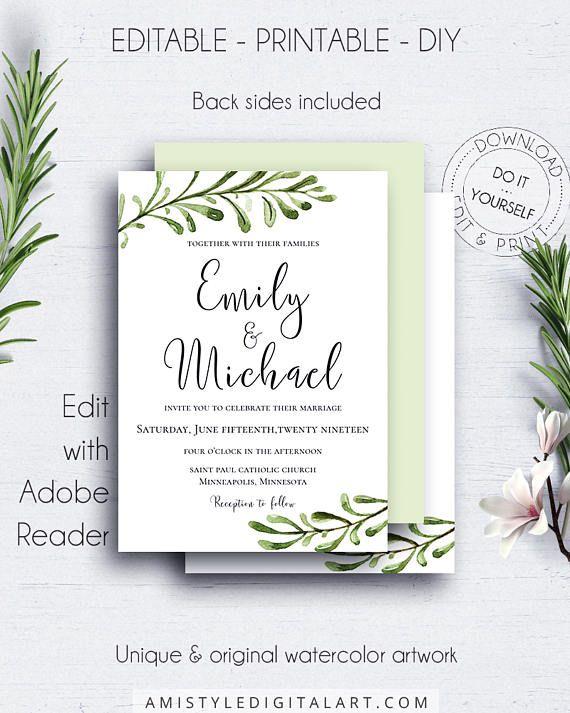Minimalist Greenery Invitation Template With Rustic Watercolor