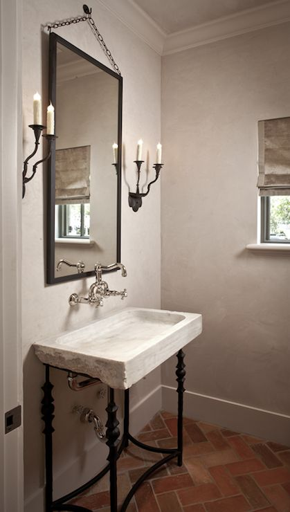 Suzie: The Owen Group - Chic guest bathroom with gray walls paint color, stone vessel iron ...