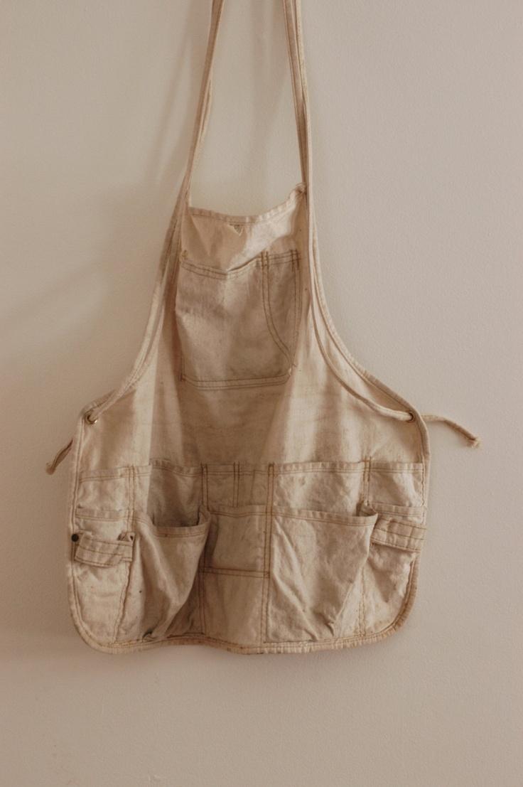 White apron old school rs - Vintage Cotton Canvas Carpenters Apron Garden Apron