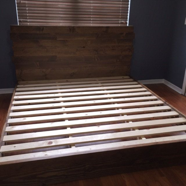 Platform Bed Frame And Headboard Set With Metal Legs Modern Bed
