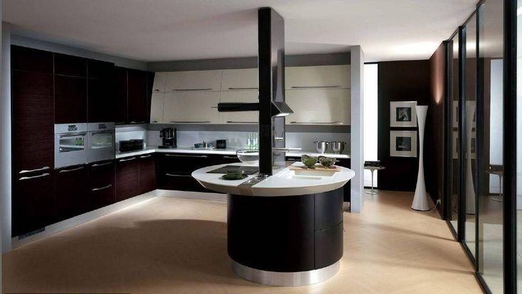 Beautiful Elegant Dark Kitchens Design Idea : Modern Elegant Dark Kitchens Rosewood Cupboard Oval Island