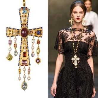 diego percossi papa cross pendant and dolce & gabbana F/W 2013-14