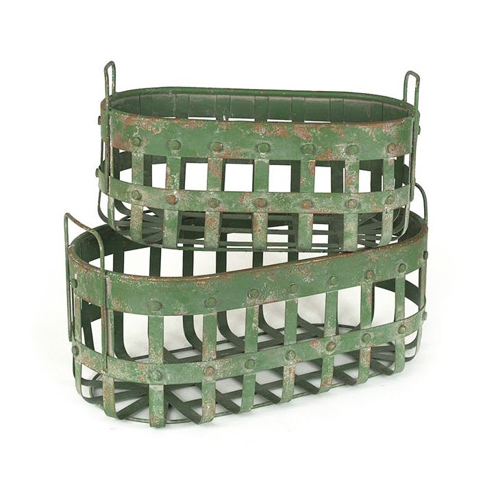 Gift a selection of handy essentials, ready to greet visitors in the guest room with the Handy Helper Green Baskets. The metal set of two are roomy enough for towels or toiletries, while the rustic gre...  Find the Handy Helper Green Baskets - Set of 2, as seen in the Our Favorite Farmhouse Designs Collection at http://dotandbo.com/collections/our-favorite-farmhouse-designs?utm_source=pinterest&utm_medium=organic&db_sku=93385