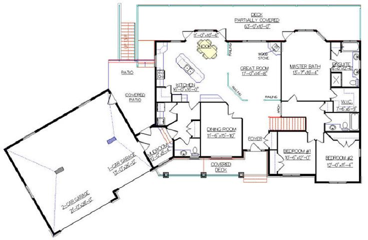 Bungalow Plan 2011585 with Angled Garage by E Designs 2081 sq ft