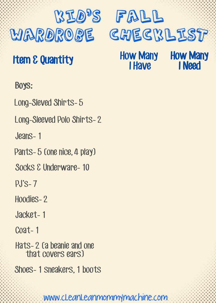Clean Lean Mommy Machine: Kids Fall Wardrobe Checklist