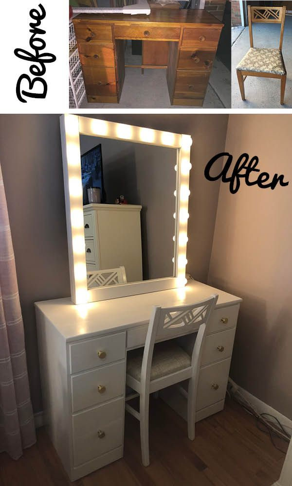 Look At This Amazing Vanity Makeover Refurbished Desk And Handmade Diy Mirror Created A Pe Furniture