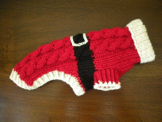 Santa Dog Sweater Cable Knit Christmas by bychancedesigns, $32.00