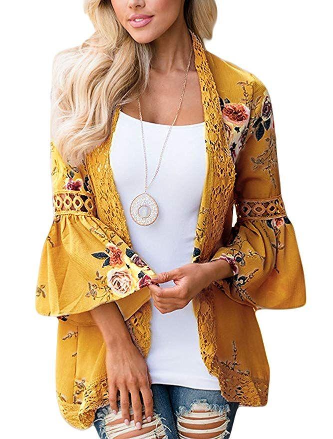 eb1859f502b Basic Faith Women s Boho Floral Print Kimono Tops Trumpet Sleeve Cover up  Cardigans Mustard 3XL