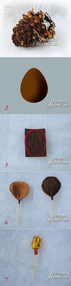 Шишка из конфет и гофрированной бумаги – мастер-класс Наталии Федорец.
