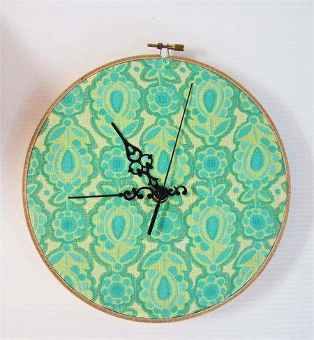 Geometric Design Clock- Green Flowers | KBS Designs | madeit.com.au/KBSDesigns