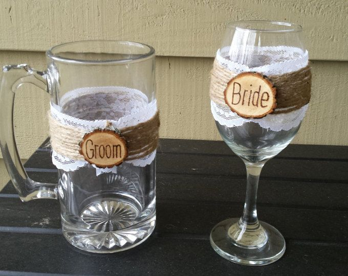 Rustic Wine Glasses, Log Slice Wine Glasses, Rustic Beer Mug, Mr and Mrs, Bride and Groom, Personalized Wine Glasses, Lace Wedding Glasses