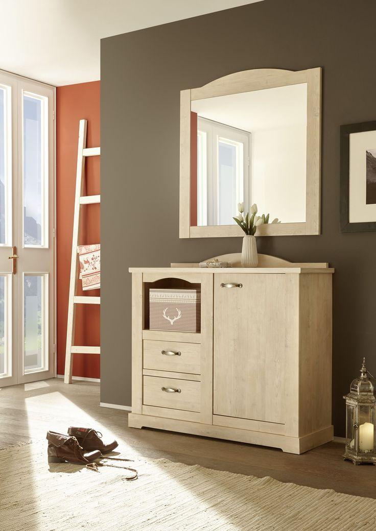Garderobe Mit Kommode Und Spiegel In Weisstanne Woody 16 00843 Holz Landhaus Jetzt Bestellen Unter