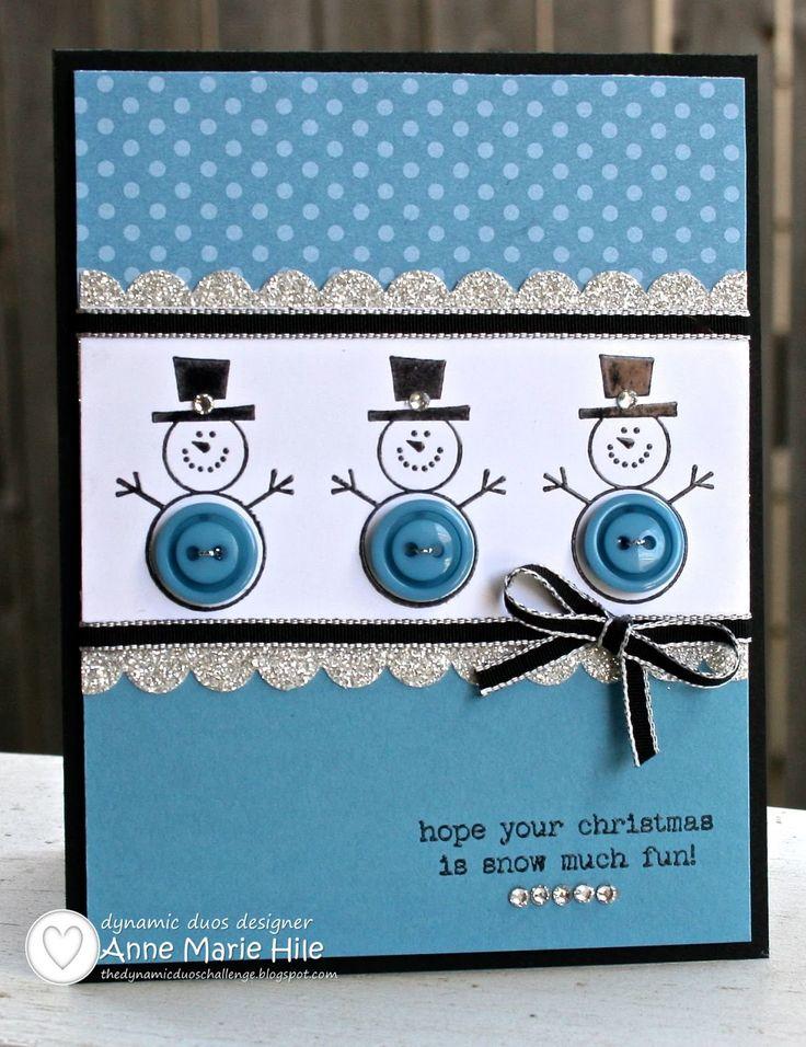 Cute as a Button Snowman card