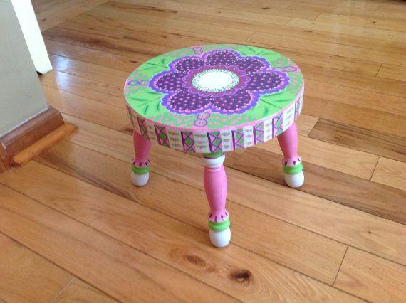 Pretty little handpainted footstool 11top x9high by FrankieAndZip