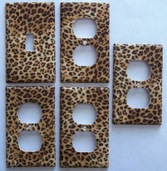 Leopard Animal Print  Girls Kids Light Switch Plate Cover Set 1&4 Wall Home Decor Bedroom Bathroom