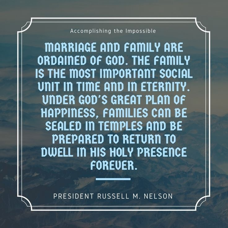 Marriage and family are ordained of God. The family is