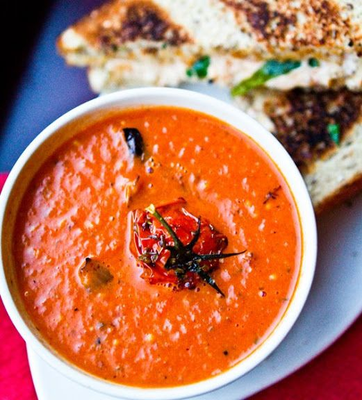 Roasted Tomato Soup with Grilled Daiya Sandwiches