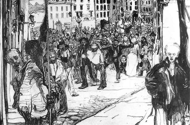 Manifestacja (z cyklu Rok 1905).  1905. Pióro i tusz na papierze. 19 x 29 cm.  Muzeum Narodowe, Warszawa.    http://www.pinakoteka.zascianek.pl/Wojtkiewicz/Images/Manifestacja.jpg