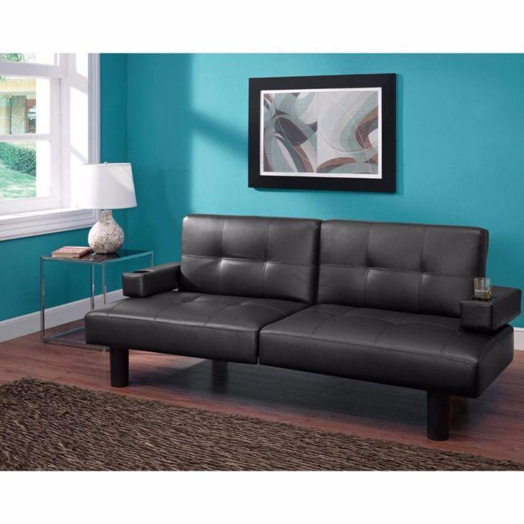 Sleeper Sofa Bed Futon Black Convertible Transitional Vinyl Furniture New #ad