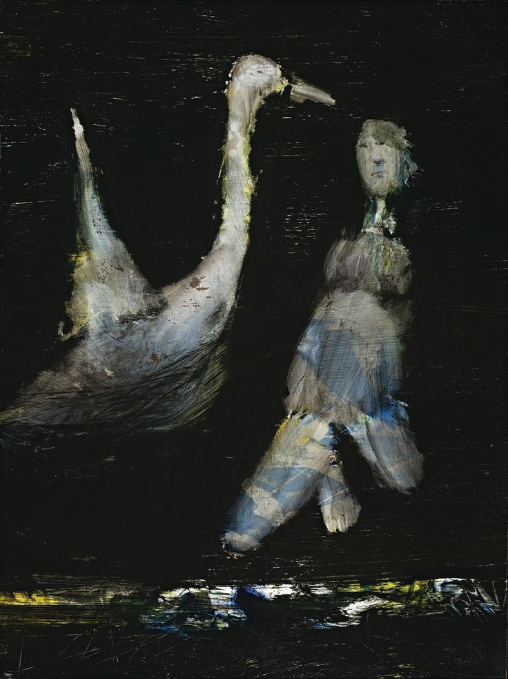 SIDNEY NOLAN (1917 – 1992) LEDA AND THE SWAN, 1960 ripolin on composition board…