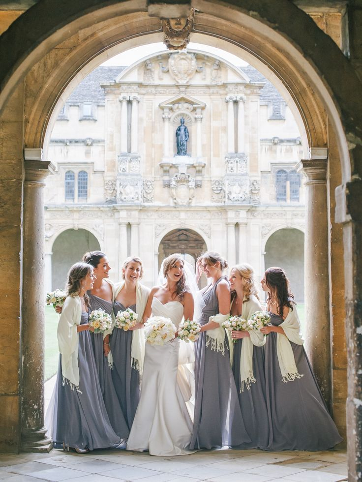 Bridesmaids gowns by Monique Lhuillier -- See the gorgeous wedding on #smp here: http://www.StyleMePretty.com/2014/04/18/classic-english-wedding-at-the-bodleian-library/ Photography: Stephanie Swann Weddings - stephanieswannweddings.co.uk