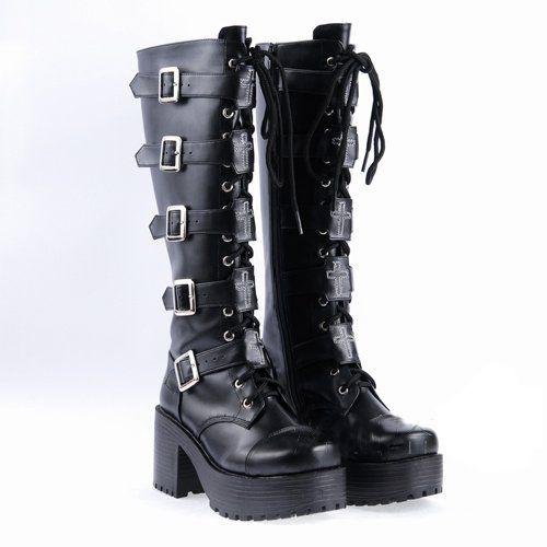 Demonia Black Leather Boots High Heel Punk Gothic Rock metallic