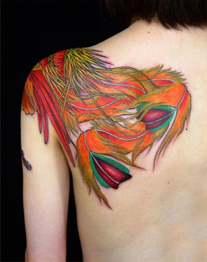 Phoenix Feather Watercolor Tattoos