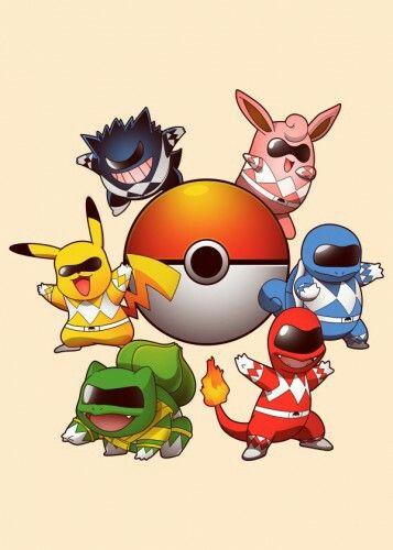 Pokemon rangers. Pokemon and power rangers combined! great idea :)