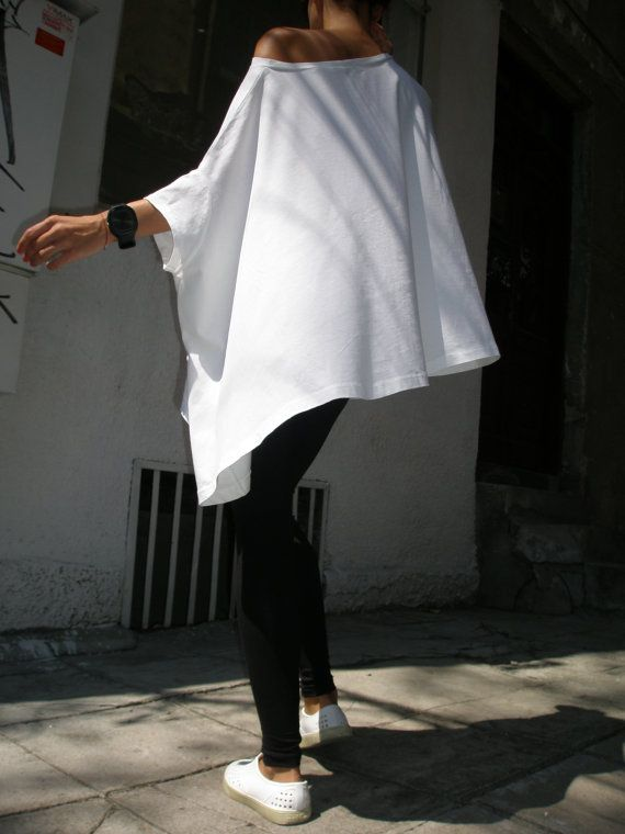 Loose Blouse / White Oversized Top / Cotton Casual A01048