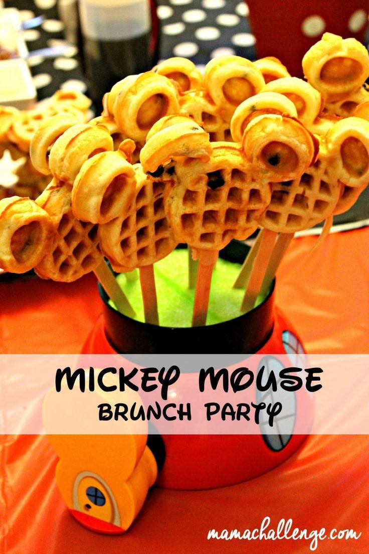 Disney Brunch Party with invites, Waffle Bar, Mickey Marshmallows for hot chocolate favors and more! #Disneyside
