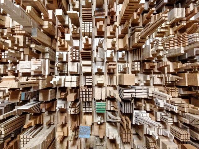 City Series Wooden Skyscrapers by James McNabb: Each miniature architectural object is composed of found wood and cut by McNabb without designs or pre-planning, and is truly one of a kind.  #Model #Sculpture #Skyscraper