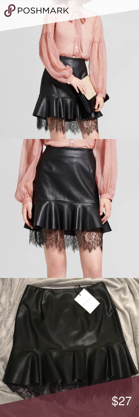 NWT Who What Wear Leather & Lace Layer Mini Skirt NWT never worn. The flirty cut of this Who What Wear Leather & Lace Layered Mini Skirt gets even more playful with a second layer of lace peeking out from underneath a ruffled hem. A must for days when you want to dial up your feminine charm; comfy cut makes it an instant favorite to pair with sweaters and turtlenecks, tall boots and kicky ankle boots. Vegan Leather.  Closure Style: Back hook and zipper Care and Cleaning: Machine wash…