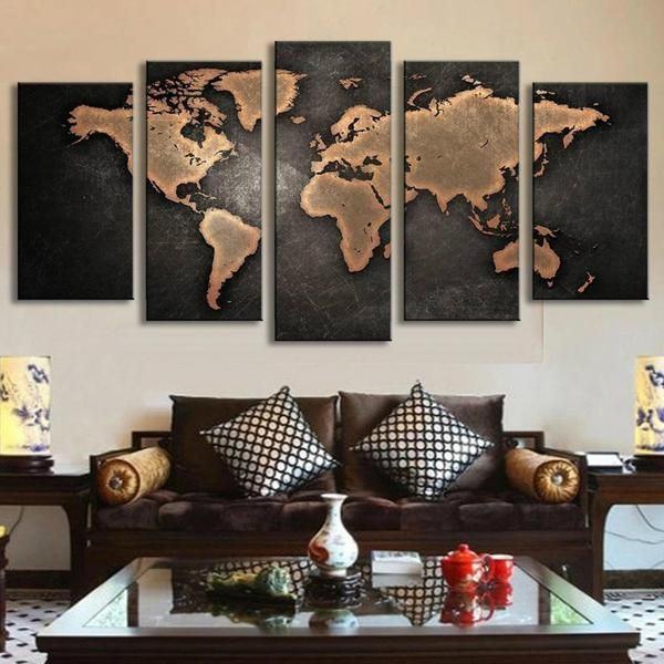 Black World Map Canvas
