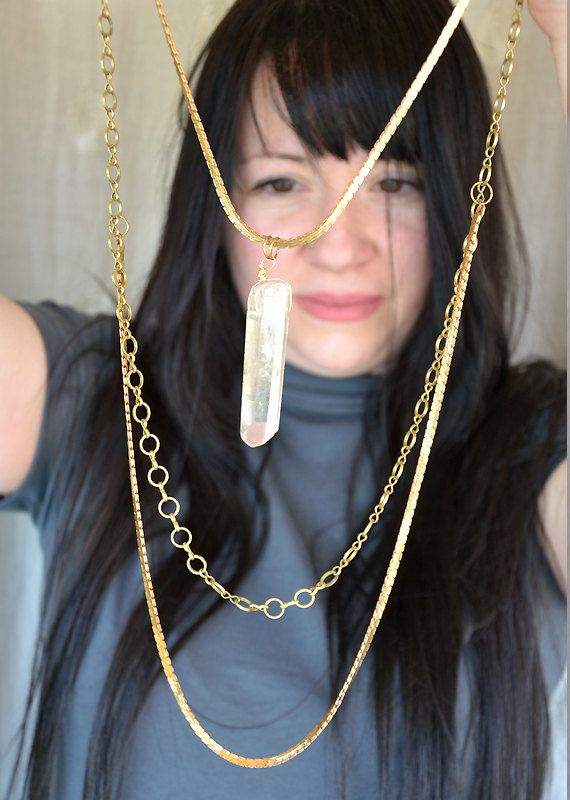 SOLD Long, raw brass statement necklace, large lemon quarz crystal, raw brass snake chain, raw brass circle link chain