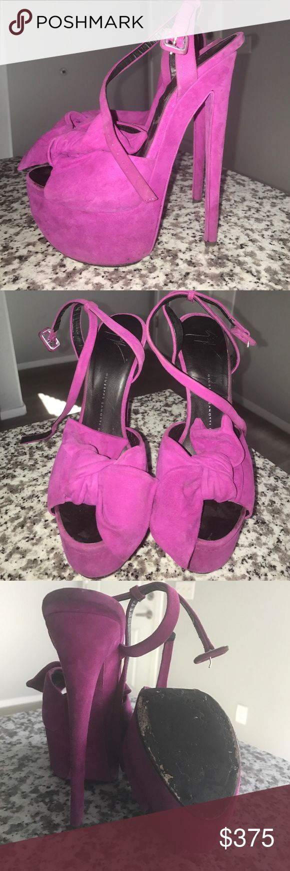 "Giuseppe Zanotti heels Up for sale, my pre-loved (worn), Giuseppe Zanotti ""Denny"" fuchsia platform heels. Worn a couple of times with light wear & tear.  6"" heel, 2"" platform. Size 38.5 but since these run small, they are perfect for a size 7. No dust bag or box, purchased from Nordstrom. Giuseppe Zanotti Shoes Platforms"