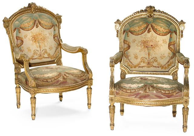 A pair of Louis XVI style carved giltwood fauteuils  <br>fourth quarter 19th century