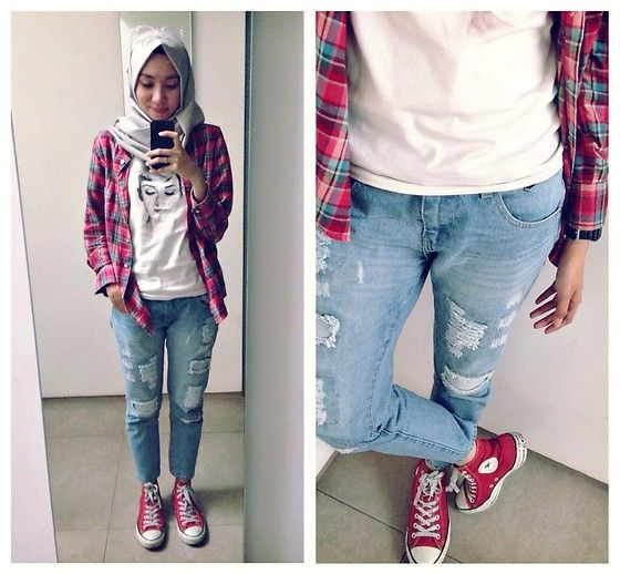 ootd - hijab outfit - sporty hijab lookbook.nu/syaifiena Syaifiena W - Uniqlo Flannel Shirt, Cotton Ink Ripped Jeans, Converse Sneakers - Flannel & Ripped Jeans