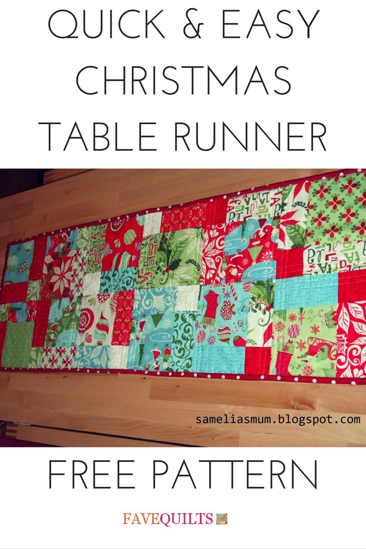 Quick And Easy Christmas Table Runner Quilt Christmas Tables And Runners