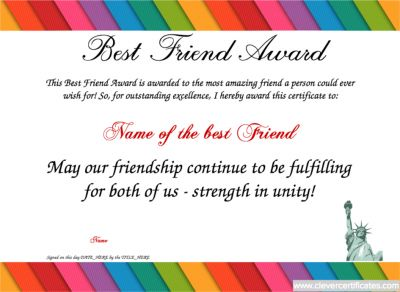 Best Friend Template. Free Certificate templates. You can ...
