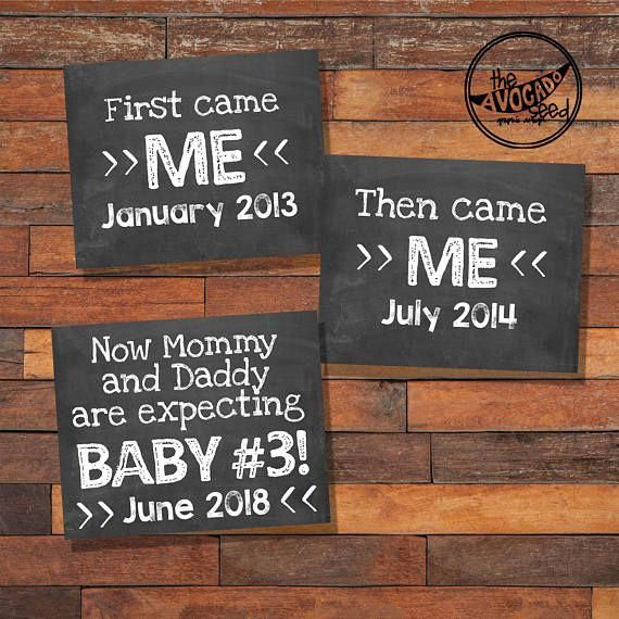Baby Number 3 Pregnancy Announcement Baby 3 Printable DIY #pregnancydiy  – baby announcement