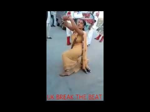 Look at Her Indian Aunty is Dancing on the Road in Front of Public