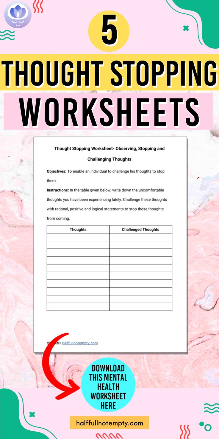 5 Thought stopping worksheet in 2020 Thoughts, Thought