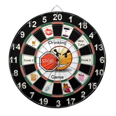 Drinking Dart Board Game with happyface - tap to personalize and get yours
